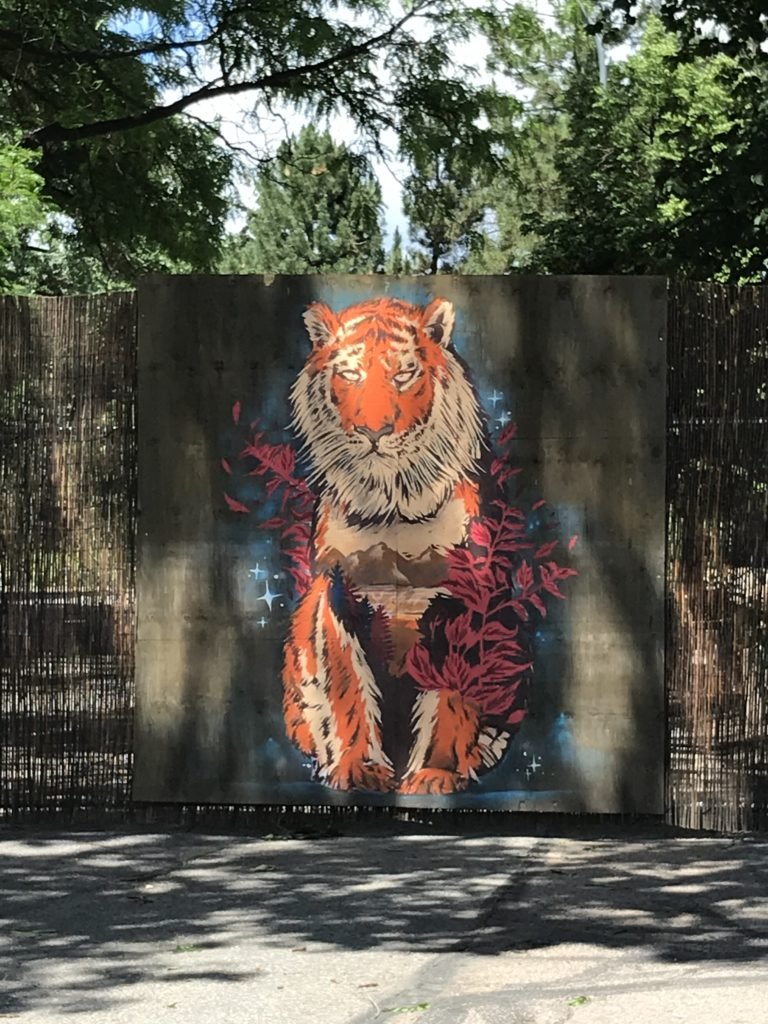 tiger mural emerging from rattan traffic barrier with dappled sunshine